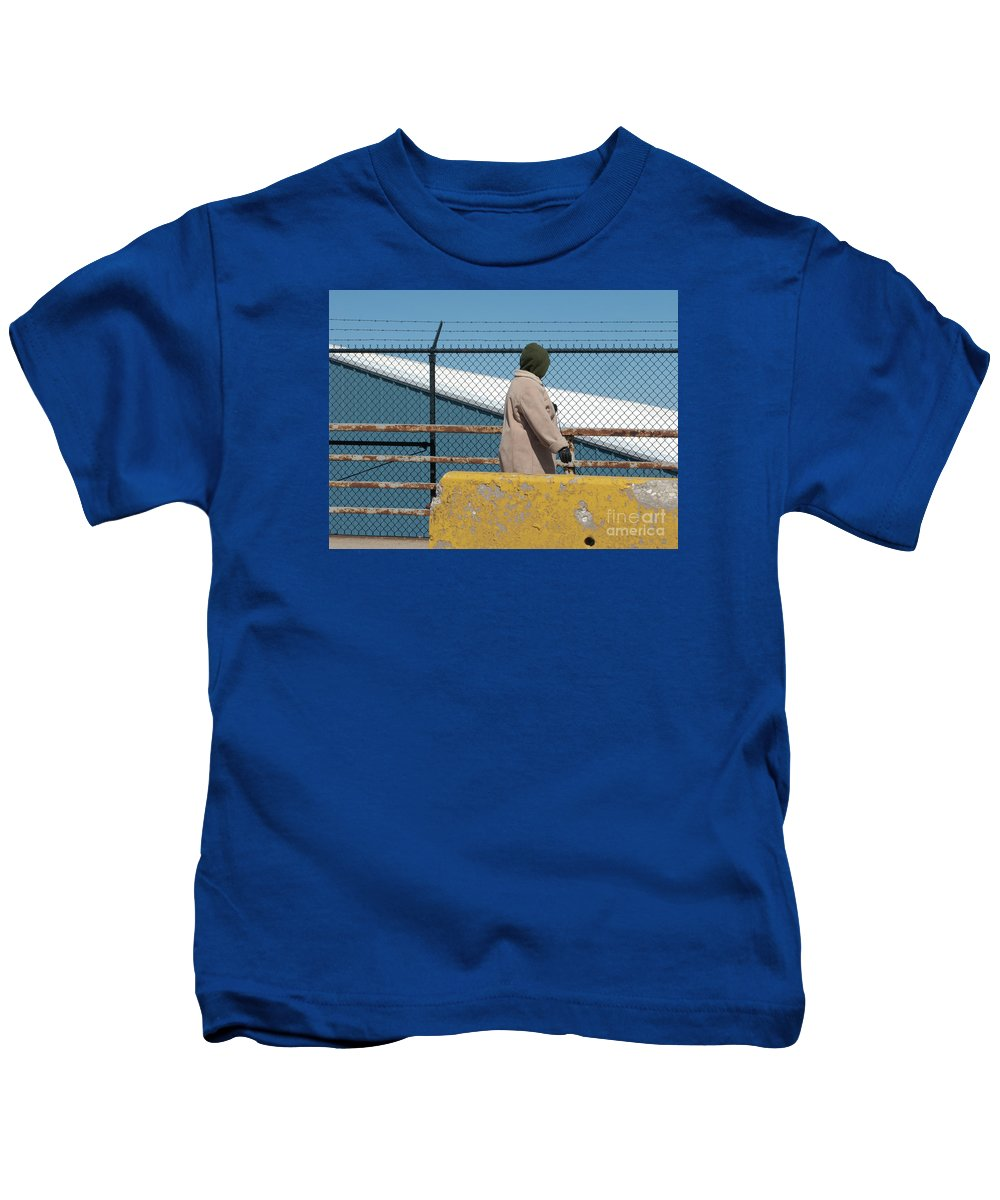 Woman Kids T-Shirt featuring the photograph Walking The Dog by Ann Horn