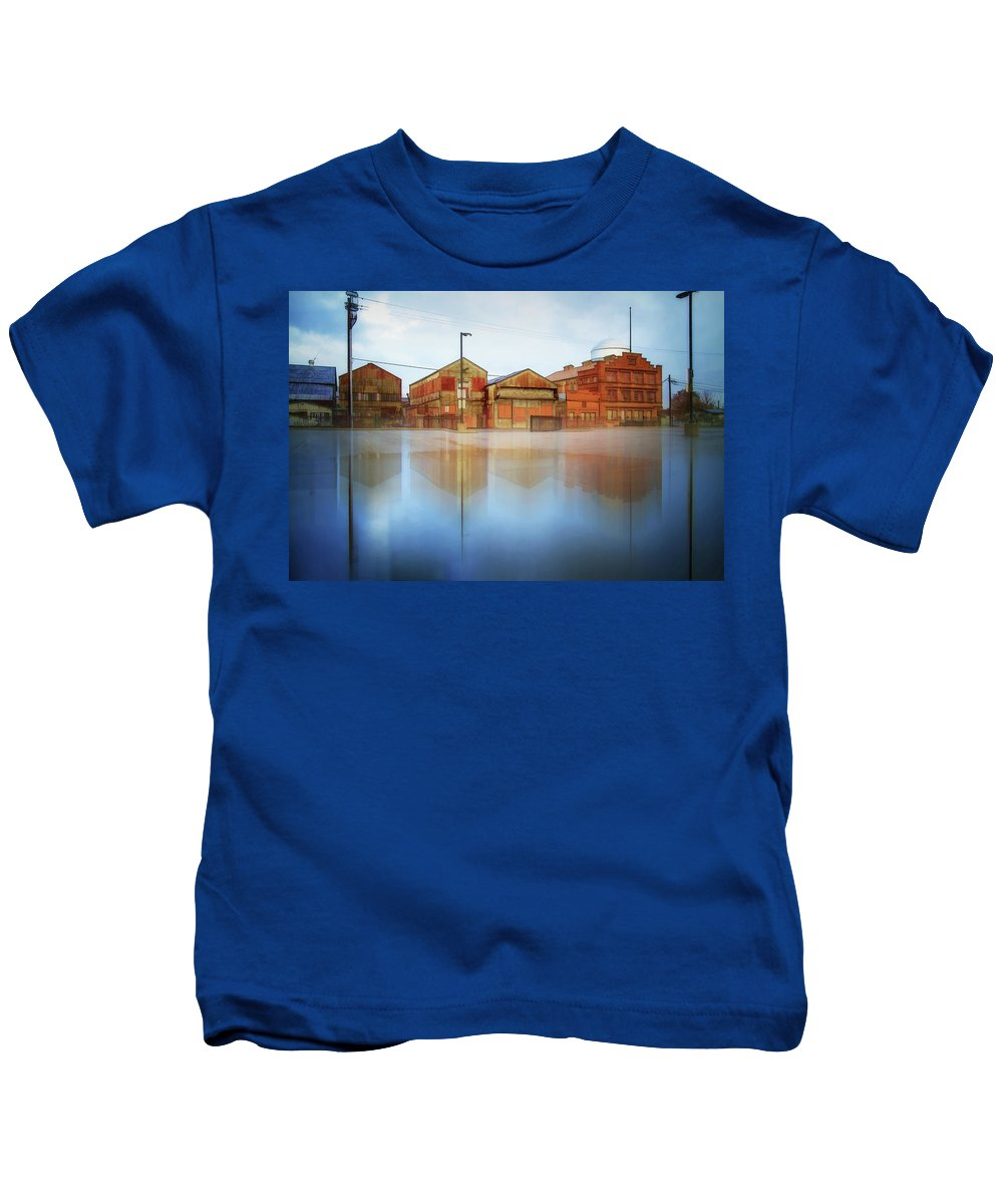 Photography Kids T-Shirt featuring the digital art Warehouses by Terry Davis