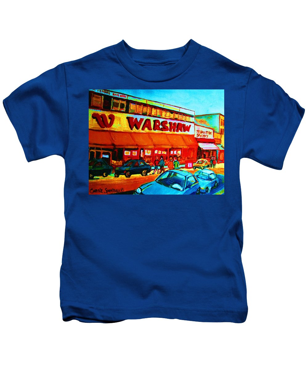 Warshaws Fruit Store Kids T-Shirt featuring the painting Warshaws Fruitstore On Main Street by Carole Spandau