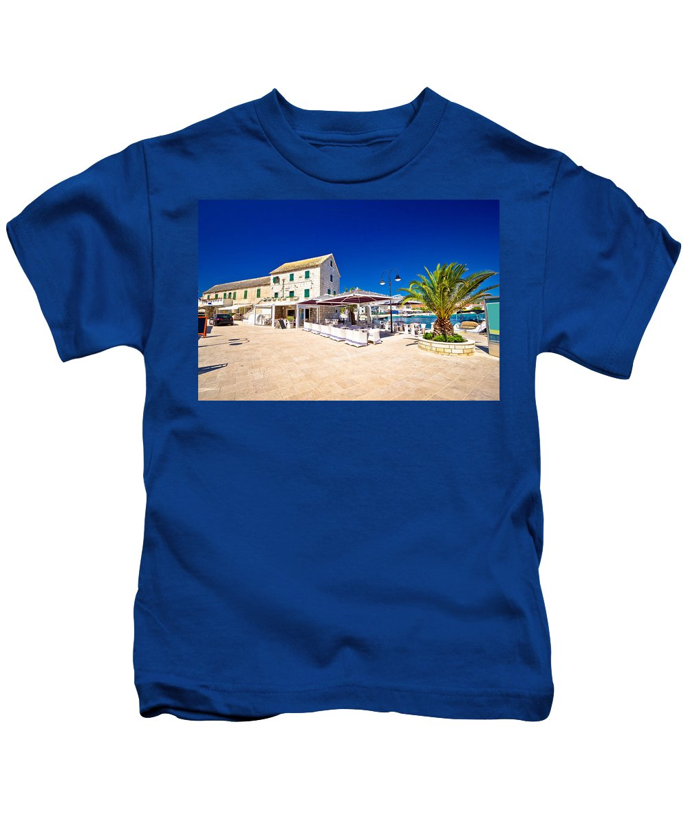 Croatia Kids T-Shirt featuring the photograph Waterfront Promenade Og Town Primosten by Brch Photography