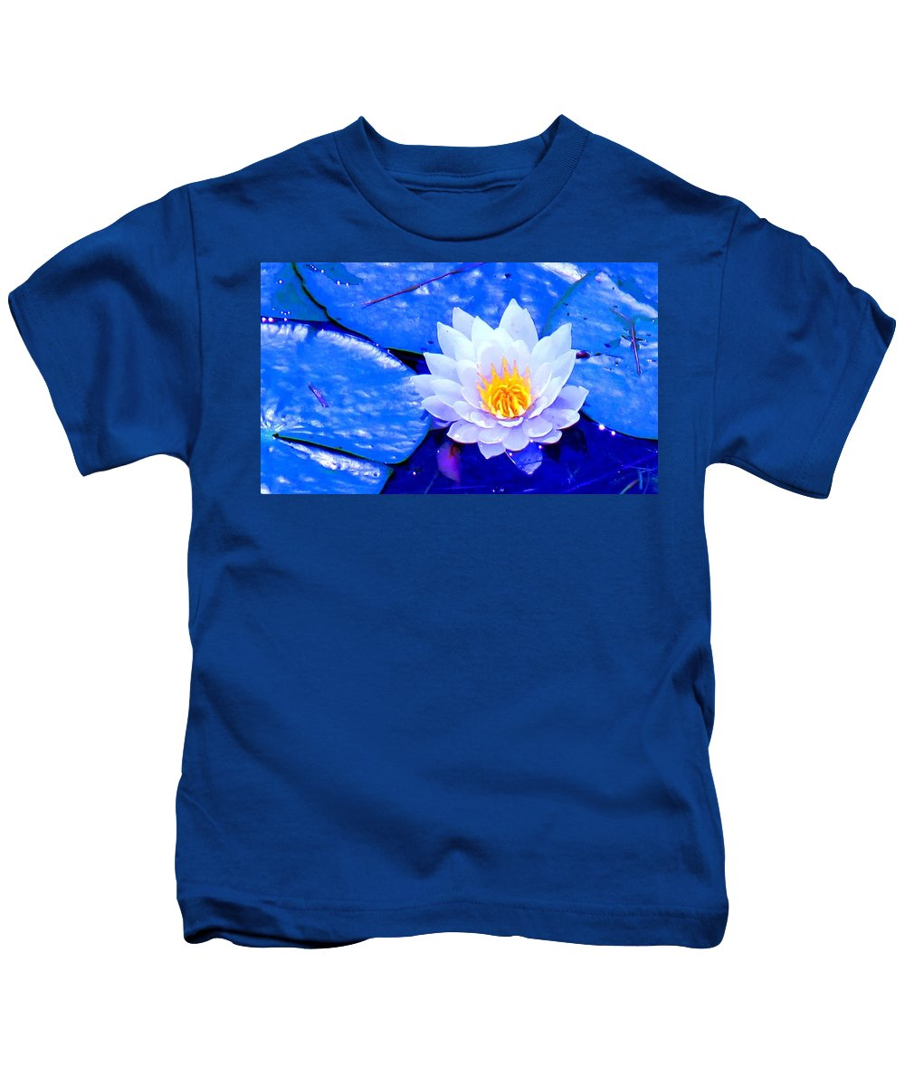 Waterlilly Kids T-Shirt featuring the photograph Blue Water Lily by Ian MacDonald