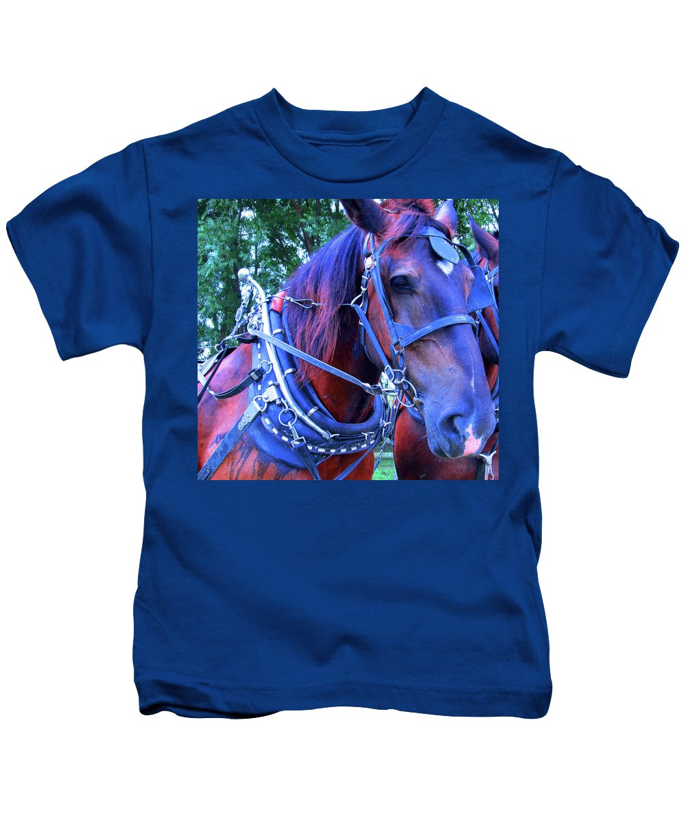 Show Horse Kids T-Shirt featuring the photograph Well Geared In The Head by Tina M Wenger