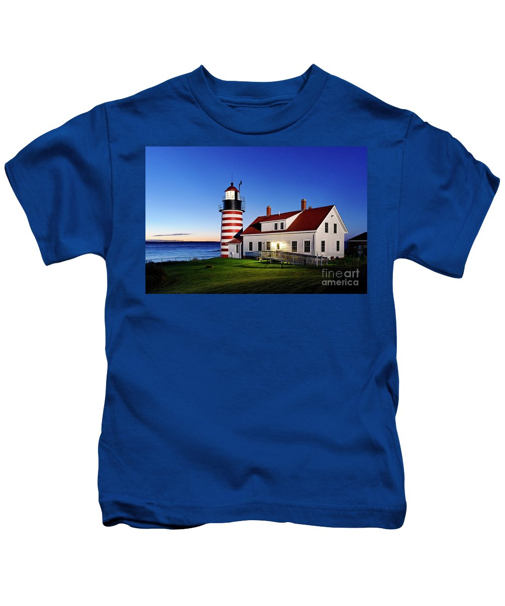 Lubec Kids T-Shirt featuring the photograph West Quoddy Lighthouse by John Greim