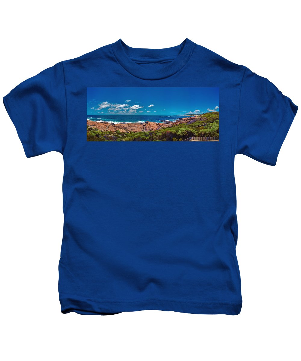 Busselton Jetty; Western Australia; Beach Panorama; Margaret River; Southern Hemisphere; Waterfront; Kids T-Shirt featuring the photograph Western Australia Beach Panorama Margaret River by David Zanzinger