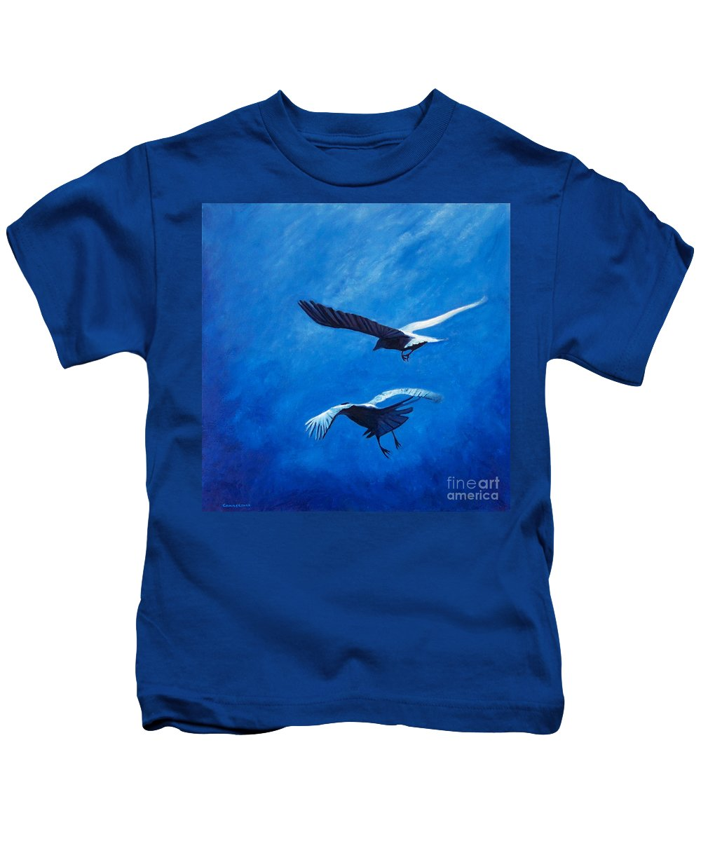 Birds Kids T-Shirt featuring the painting When The Light Comes by Brian Commerford