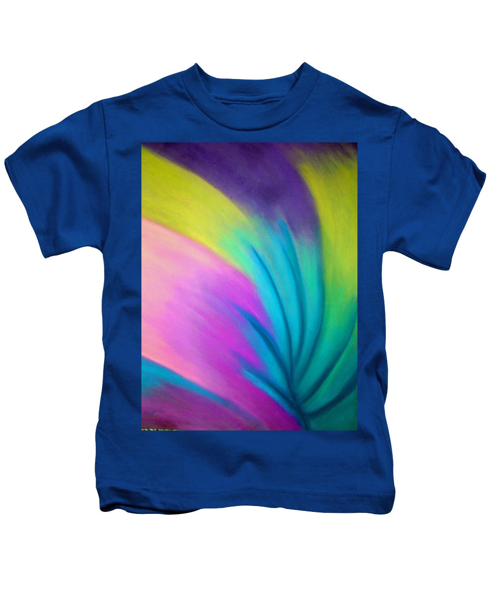 Pastel; Colors; Abstract Drawing Kids T-Shirt featuring the drawing Whirlwind by Jan Gilmore