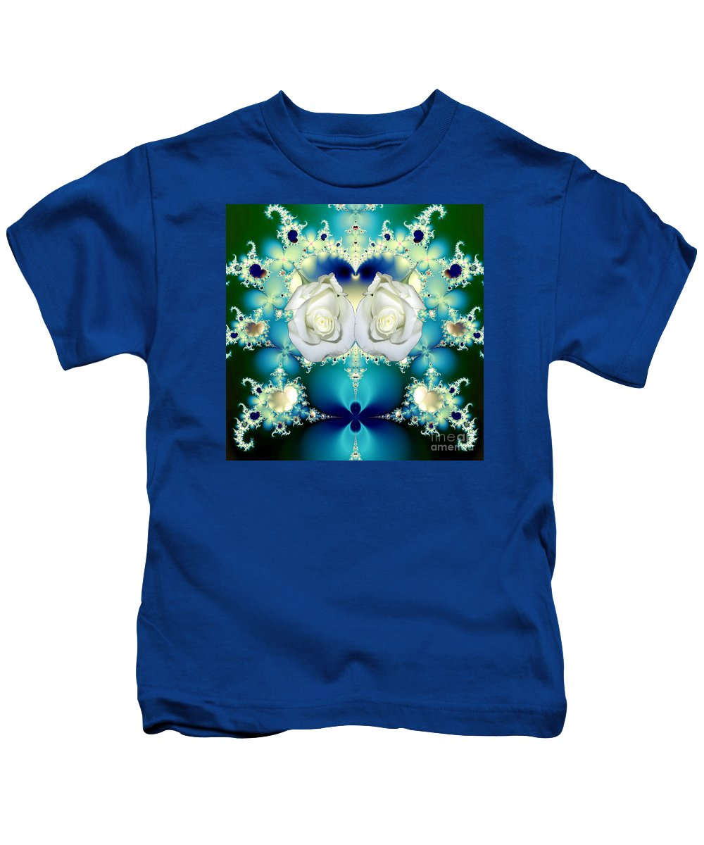 White Roses And Blue Satin Bouquet Fractal Kids T-Shirt featuring the mixed media White Roses And Blue Satin Bouquet Fractal Abstract by Rose Santuci-Sofranko