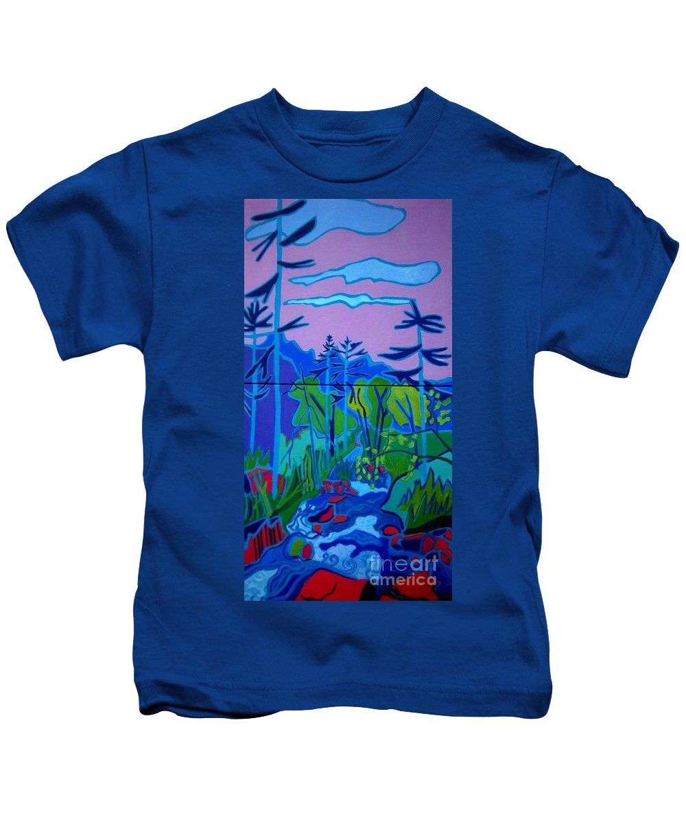 Landscape Kids T-Shirt featuring the painting Wildcat River Jackson NH by Debra Bretton Robinson