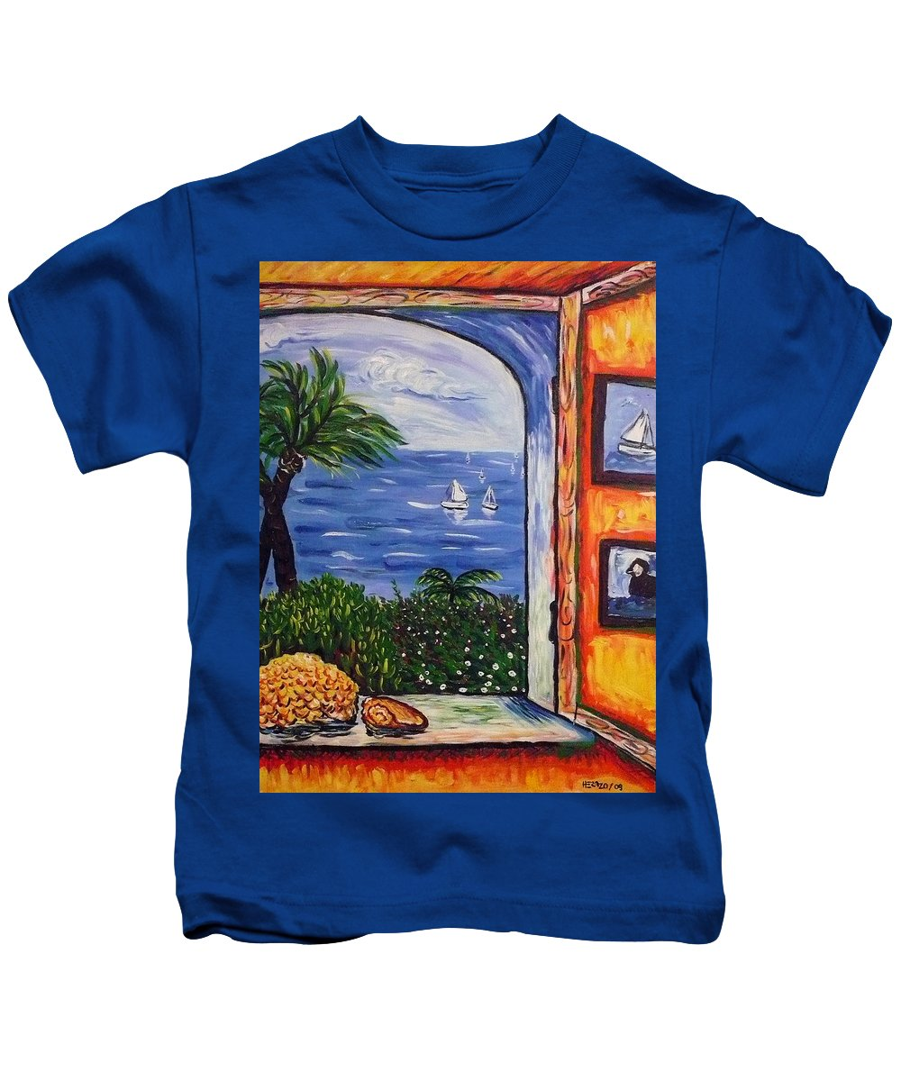 Landscape Kids T-Shirt featuring the painting Window With Coral by Ericka Herazo