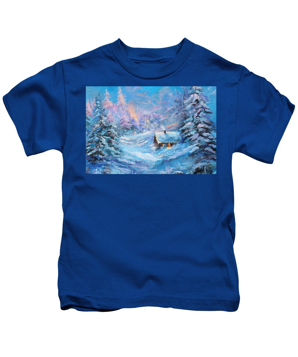 Winter Kids T-Shirt featuring the painting Winter Cabin by Nadia Bindr