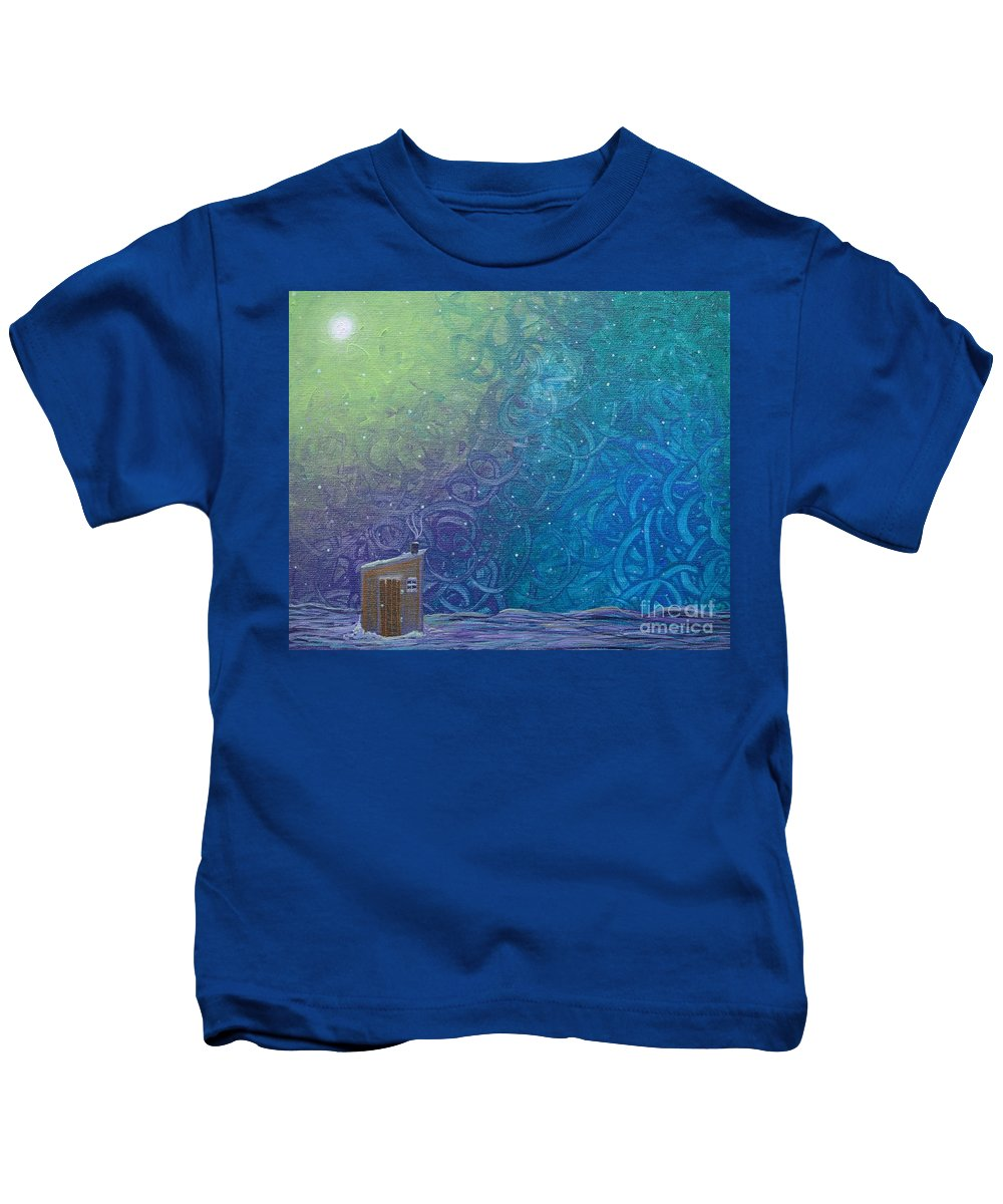 Winter Solitude 2 Kids T-Shirt featuring the painting Winter Solitude 2 by Jacqueline Athmann