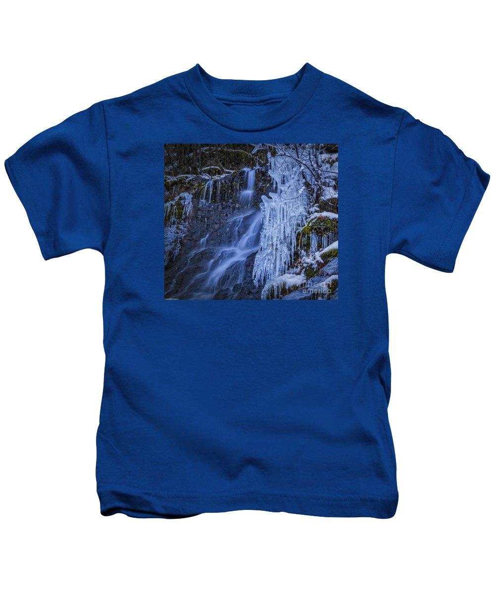 Winterfalls Kids T-Shirt featuring the photograph Winterfalls by Mitch Shindelbower