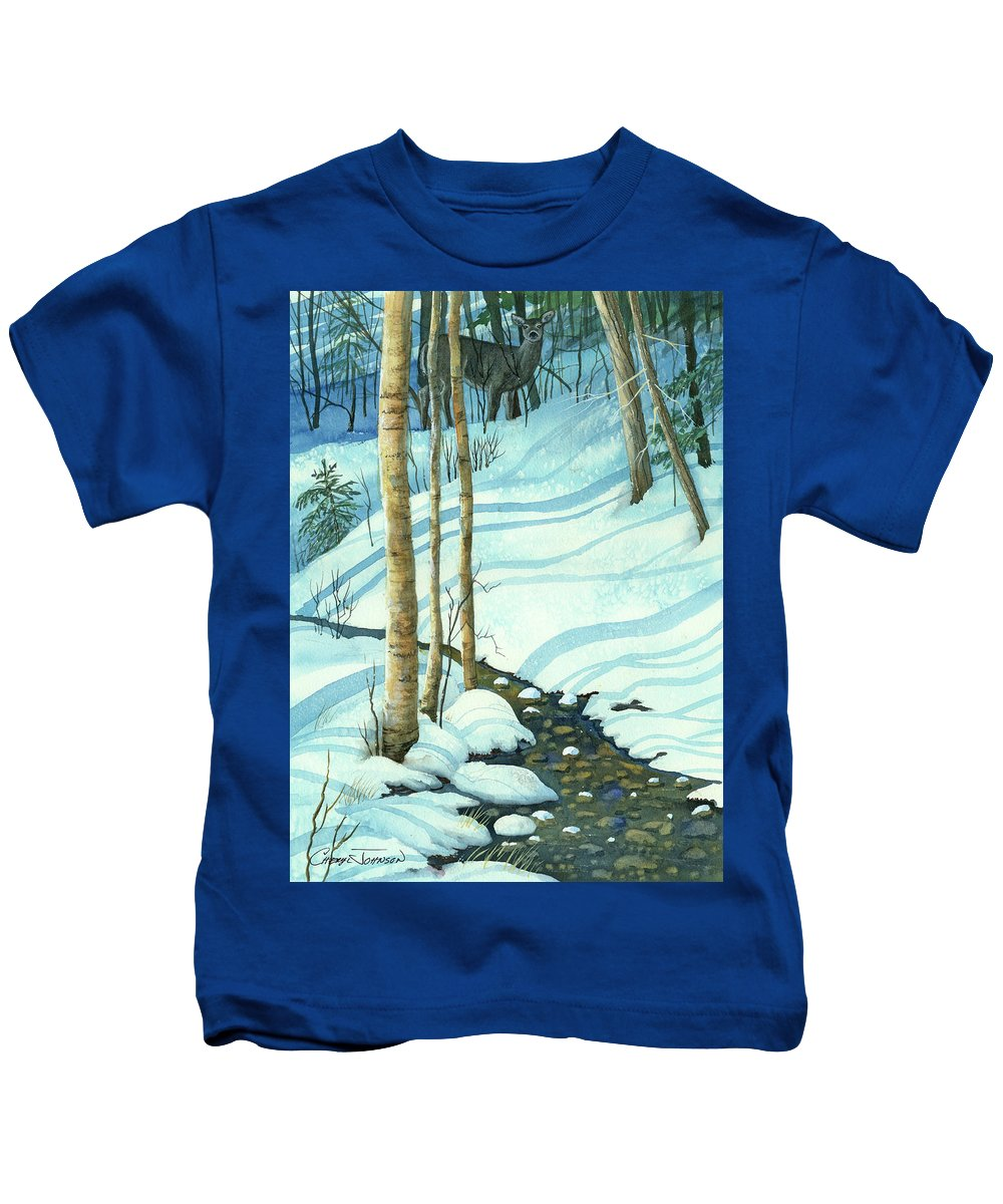 Winter Kids T-Shirt featuring the painting Wintrbrook by Cheryl Johnson