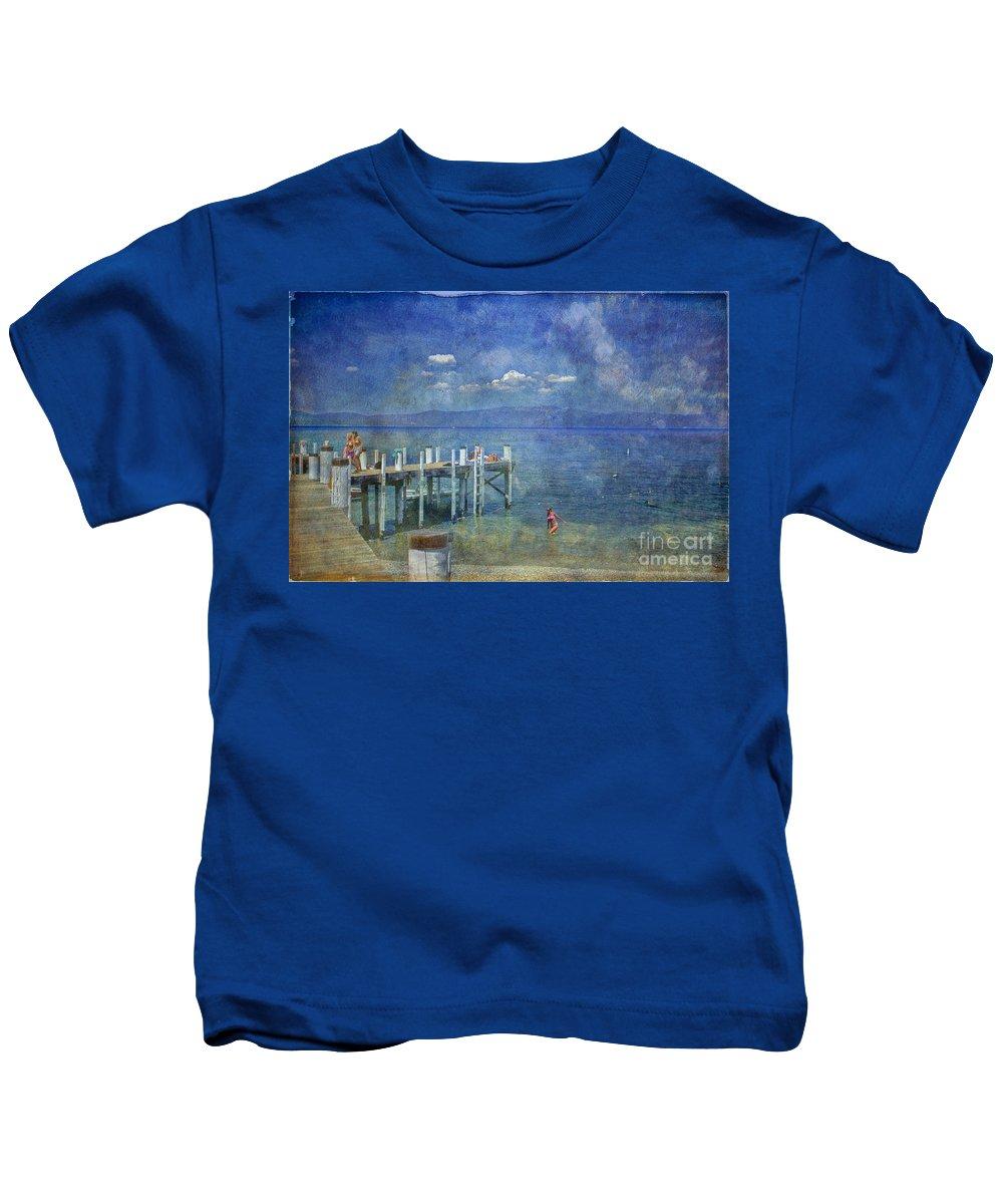 Chambers Landing Lake Tahoe Ca Kids T-Shirt featuring the photograph Wish You Were Here Chambers Landing Lake Tahoe Ca by David Zanzinger