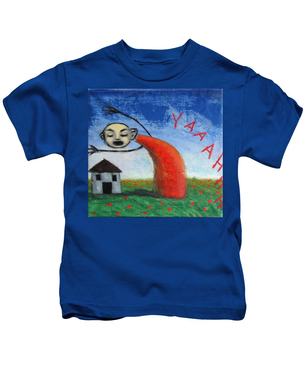 Figure Kids T-Shirt featuring the painting Yaaahhh by Pauline Lim
