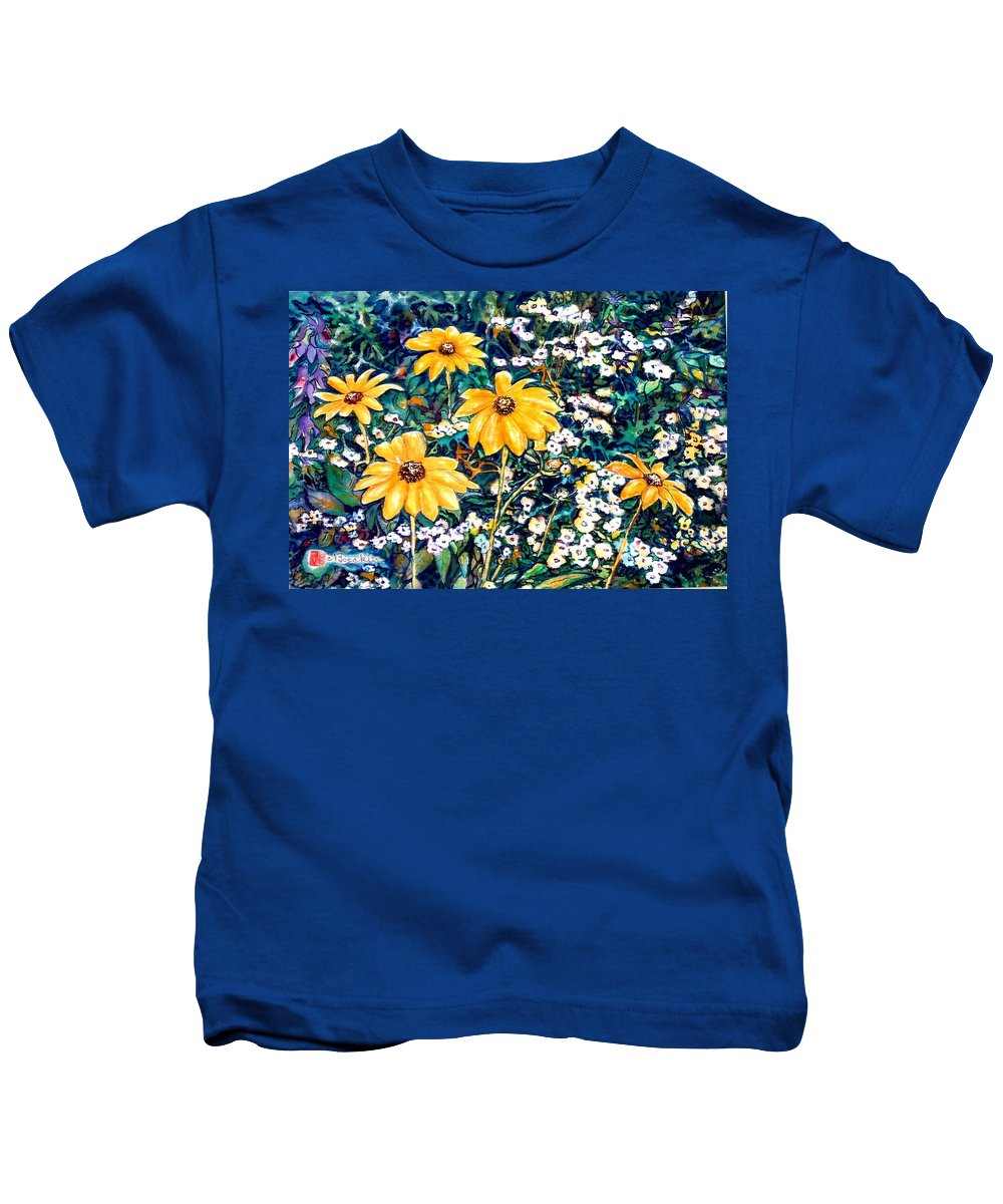 Daisies Kids T-Shirt featuring the painting Yellow Daisies by Norma Boeckler