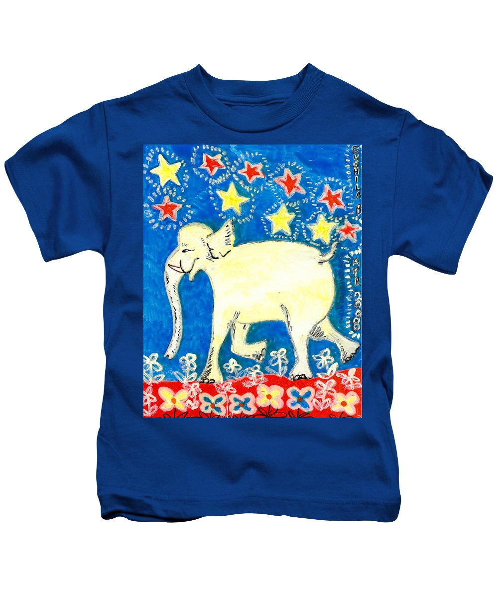 Sue Burgess Kids T-Shirt featuring the painting Yellow Elephant Facing Left by Sushila Burgess