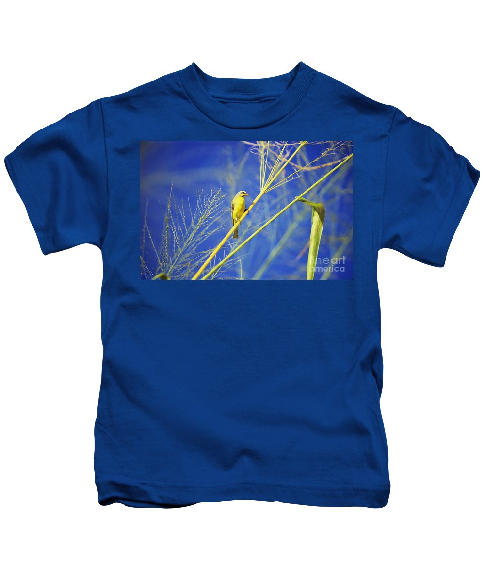 Animal Art Kids T-Shirt featuring the photograph Yellow Fronted Canary by Bob Abraham - Printscapes