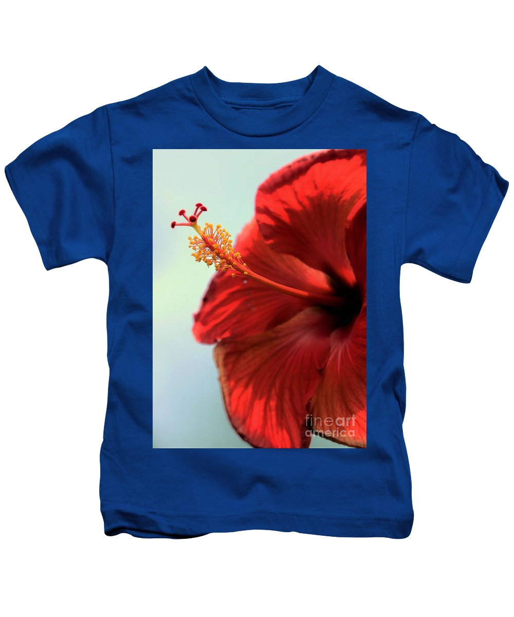 Red Kids T-Shirt featuring the photograph Yellow Red And Coral Hibiscus Profile by Diann Fisher