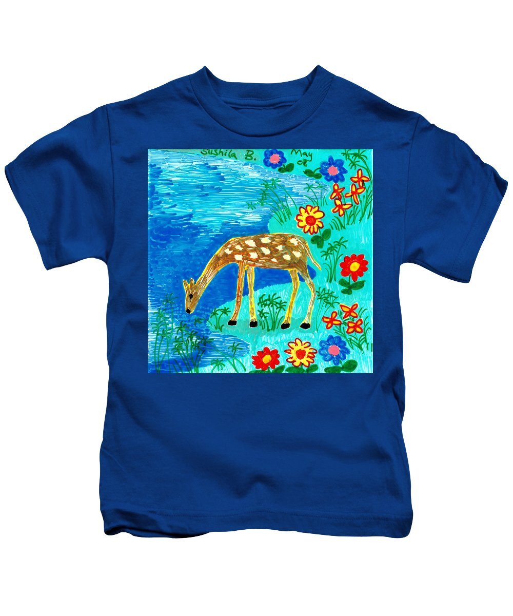 Sue Burgess Kids T-Shirt featuring the painting Young Deer Drinking by Sushila Burgess