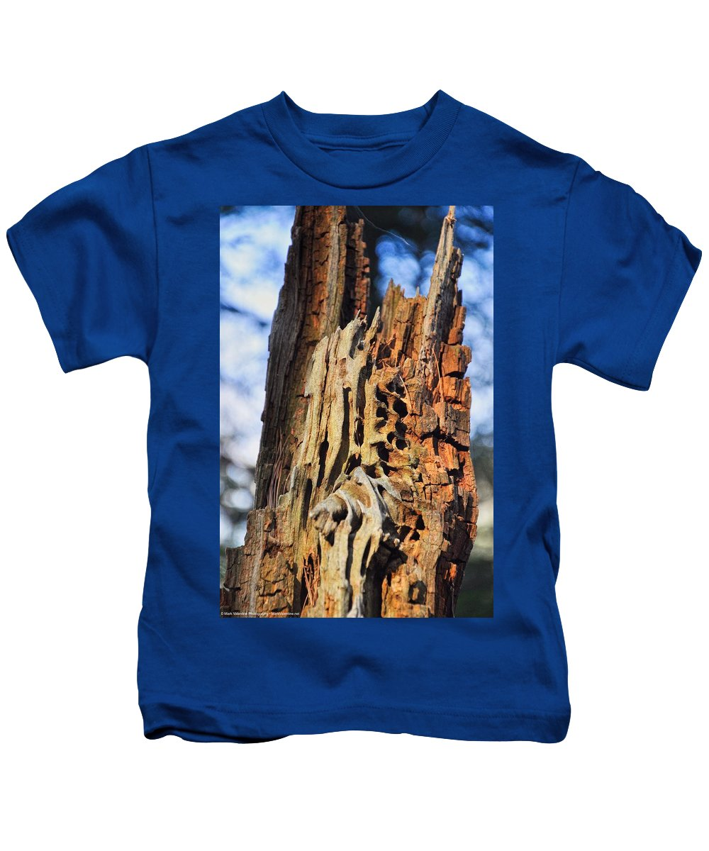 Autumn Kids T-Shirt featuring the photograph Autumn Knotty Tree Sculpture by Mark Valentine