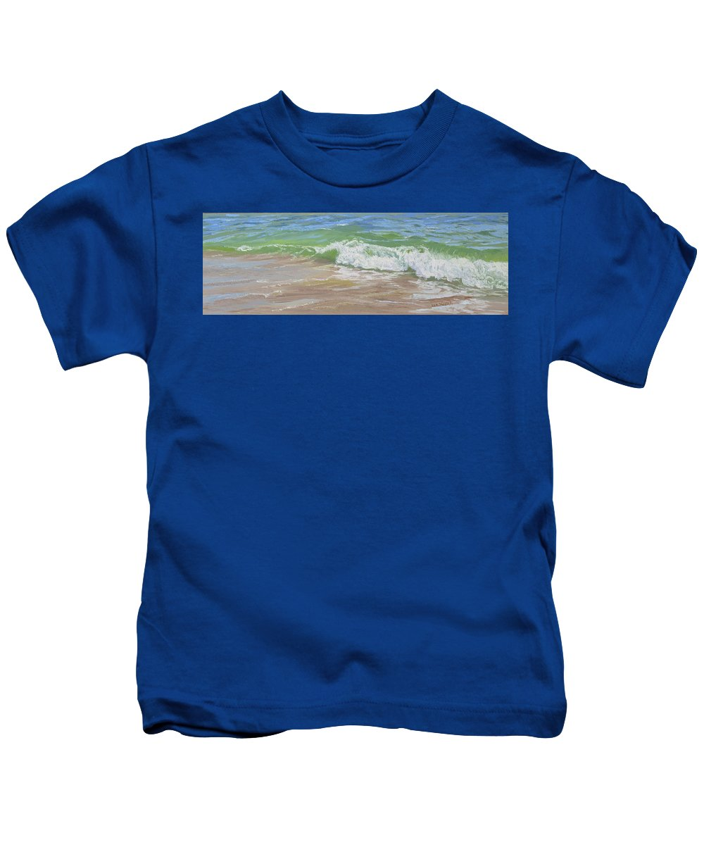 Seascape Kids T-Shirt featuring the painting Clear Green Water by Lea Novak