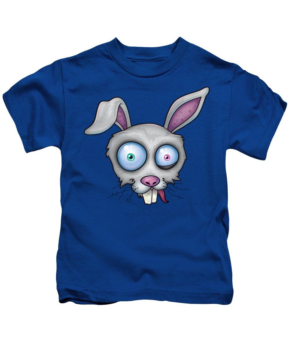 White Kids T-Shirt featuring the digital art Crazy White Rabbit by John Schwegel