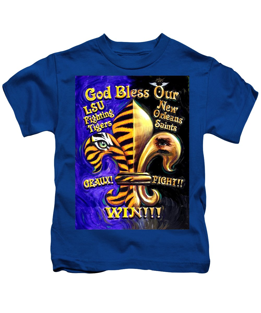 13c2816f God Bless Our Tigers And Saints Kids T-Shirt
