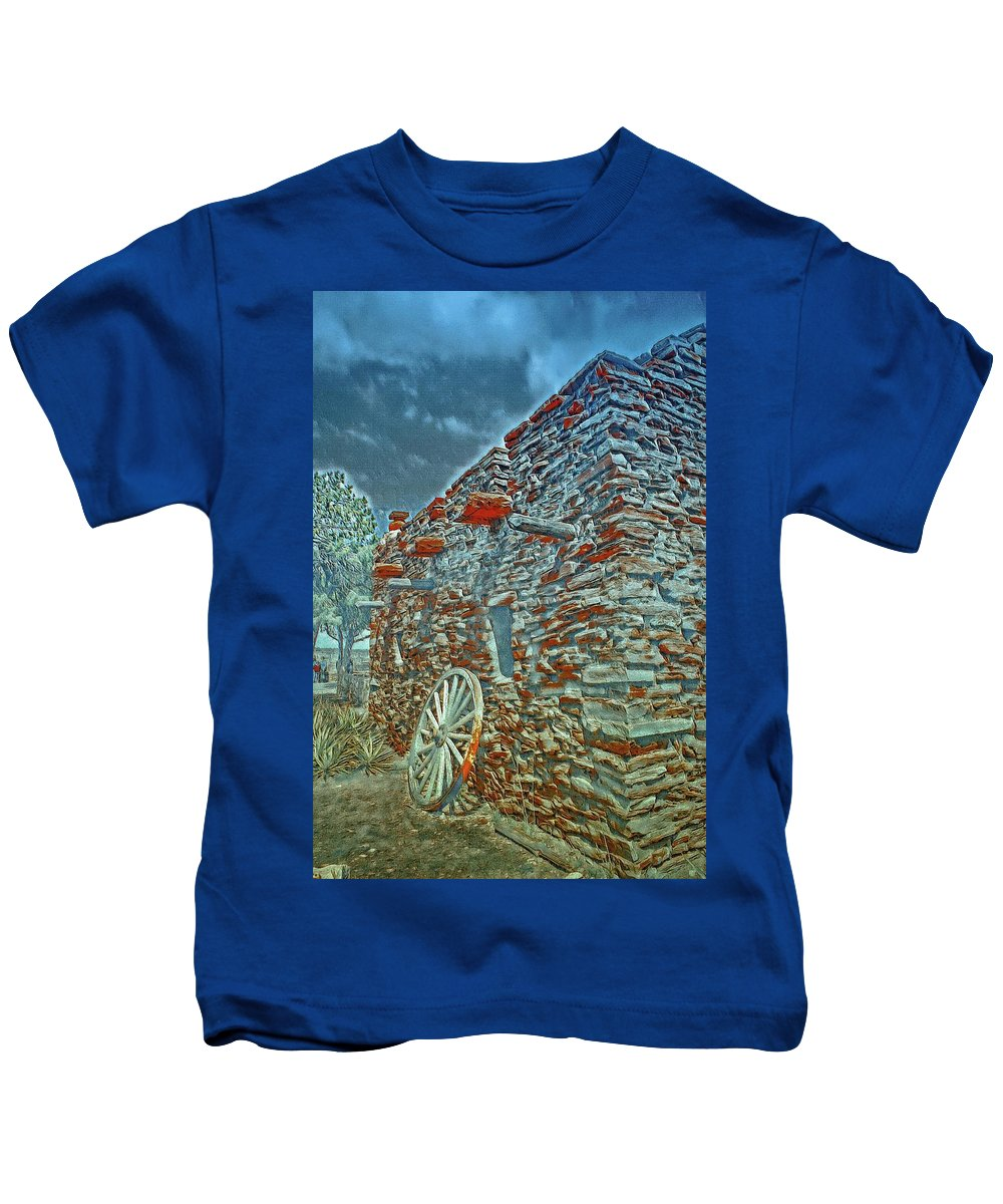 Grand Canyon. Southern Rim Grand Canyon Kids T-Shirt featuring the digital art Grand Canyon Stone House by Jerry Cahill