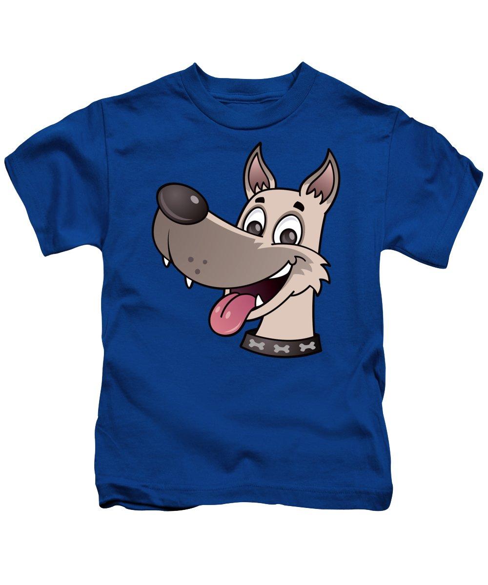 Adorable Kids T-Shirt featuring the digital art Happy Dog by John Schwegel