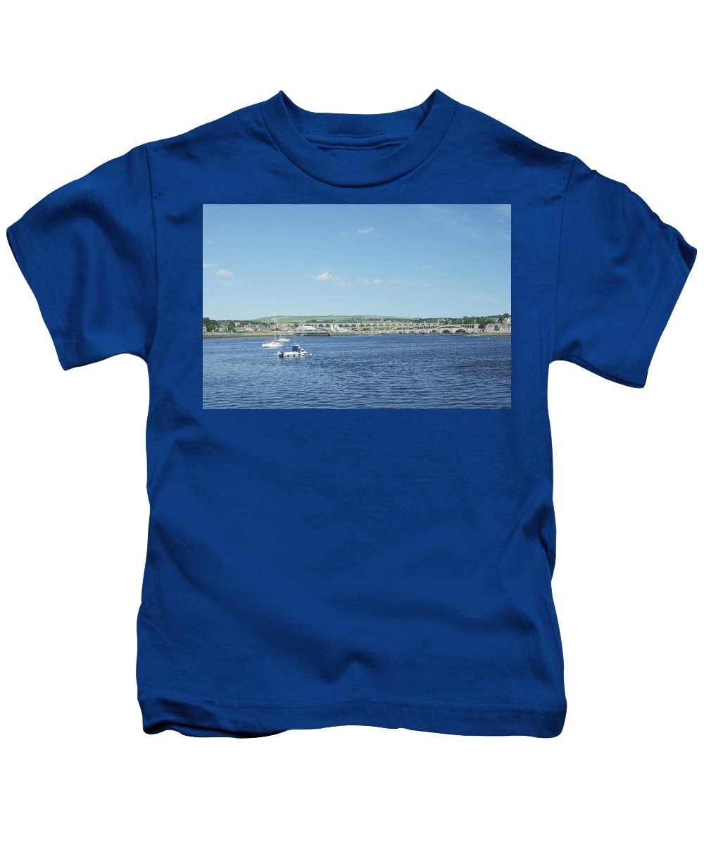 Berwick Upon Tweed Kids T-Shirt featuring the photograph looking up river Tweed at Berwick by Victor Lord Denovan