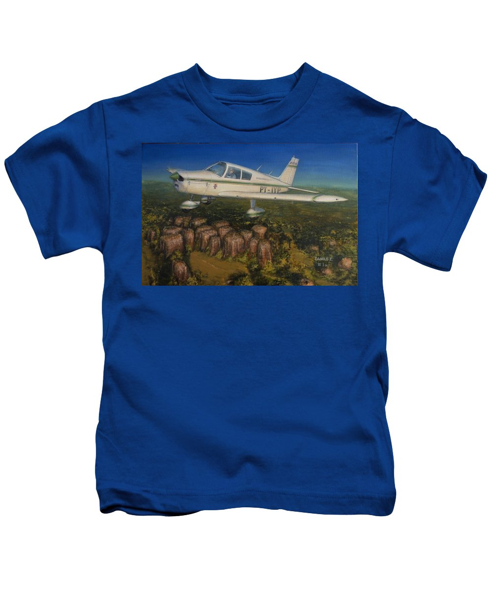 Piper Kids T-Shirt featuring the painting Piper Cherokee -140 by Danilo Zasimowicz