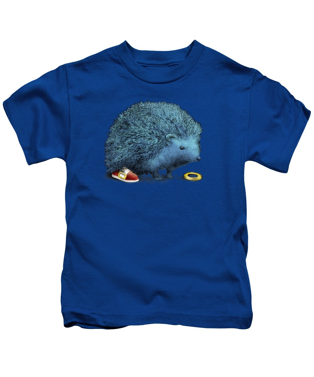 Hedgehog Kids T-Shirt featuring the drawing Sonic by Eric Fan