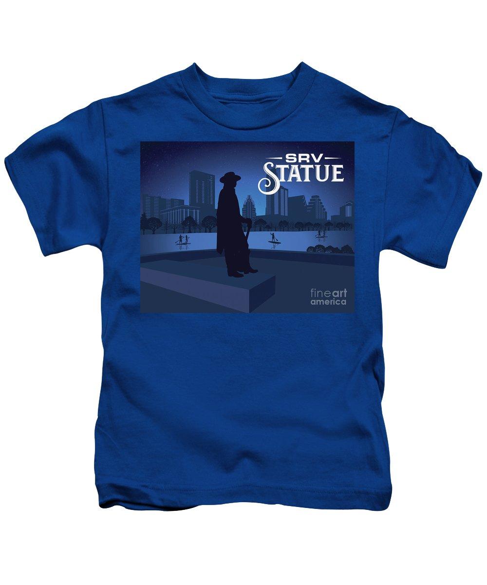 Srv Memorial Statue Kids T-Shirt featuring the photograph Srv Memorial Statue by Weird Austin Photos