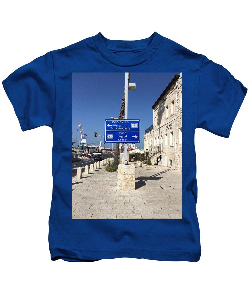 Road Sign Kids T-Shirt featuring the photograph Tel-aviv Jaffa Road Sign by Vera De Gernier