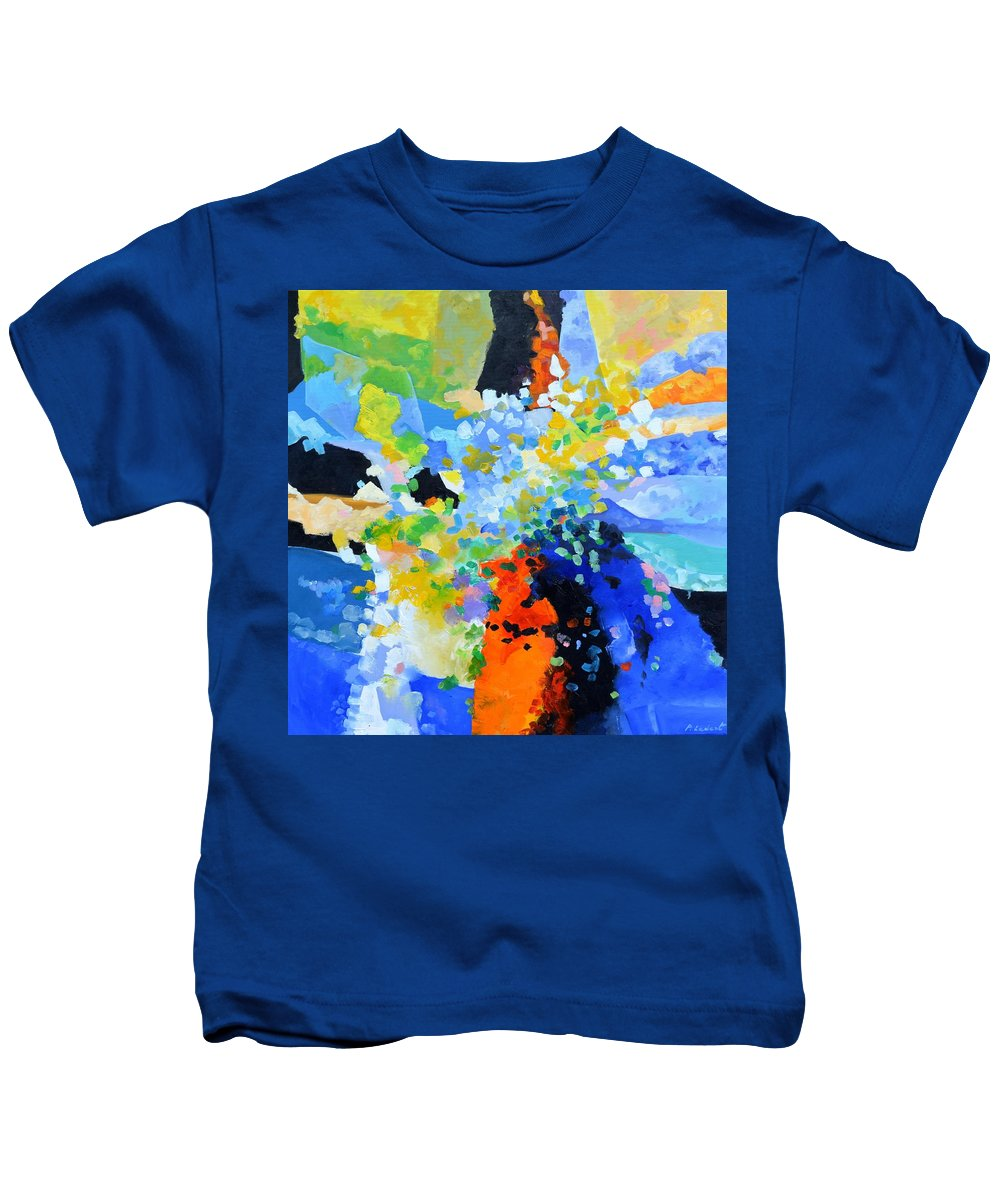 Abstract Kids T-Shirt featuring the painting Abstract still life 2 by Pol Ledent
