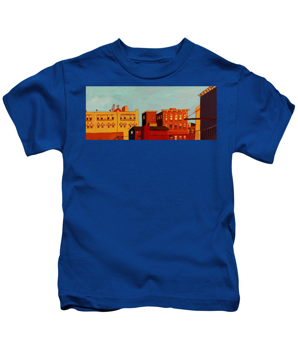 Landscape Kids T-Shirt featuring the painting Across the Canal by Debra Bretton Robinson