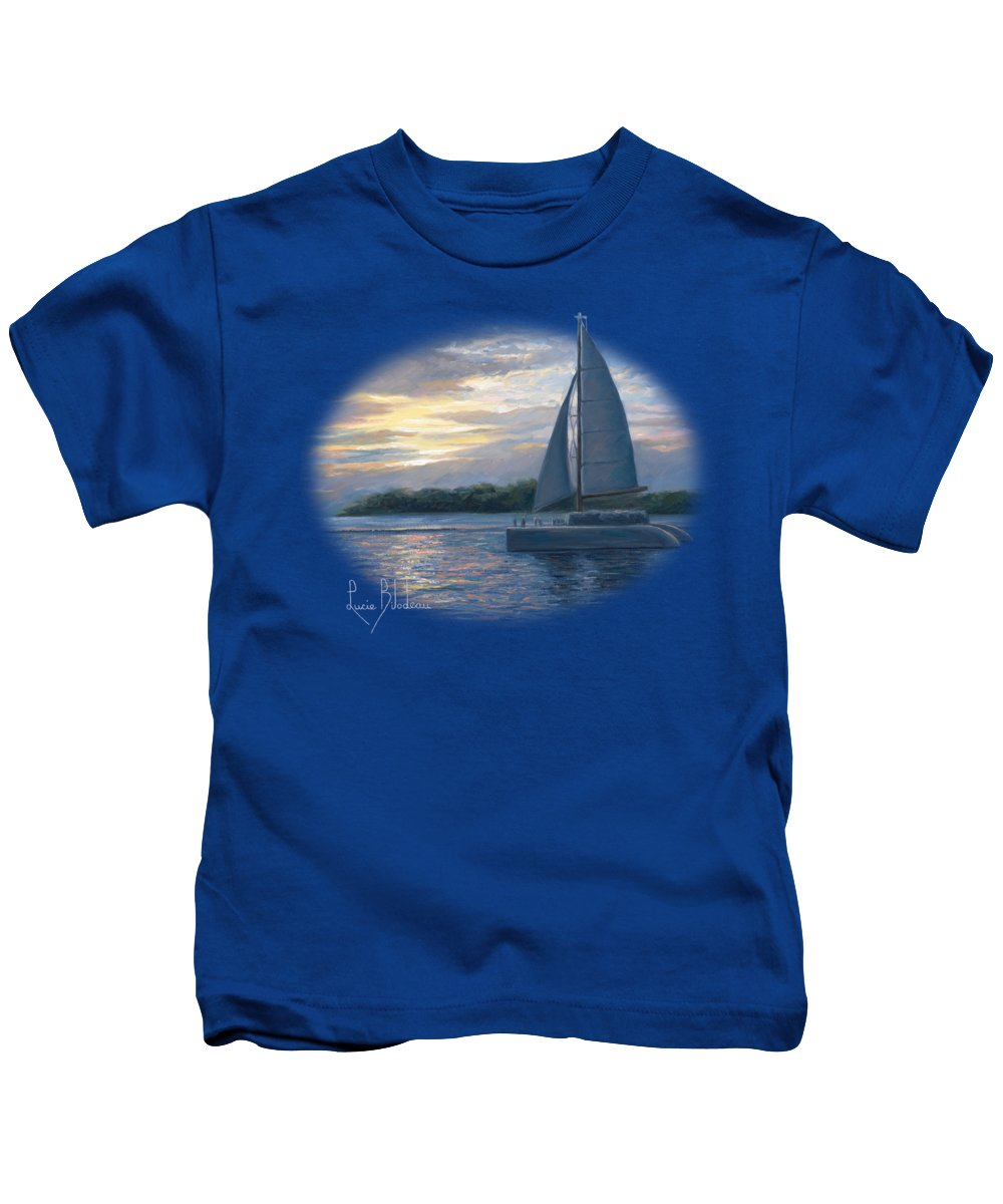Sailboat Kids T-Shirt featuring the painting Sunset In Key West by Lucie Bilodeau
