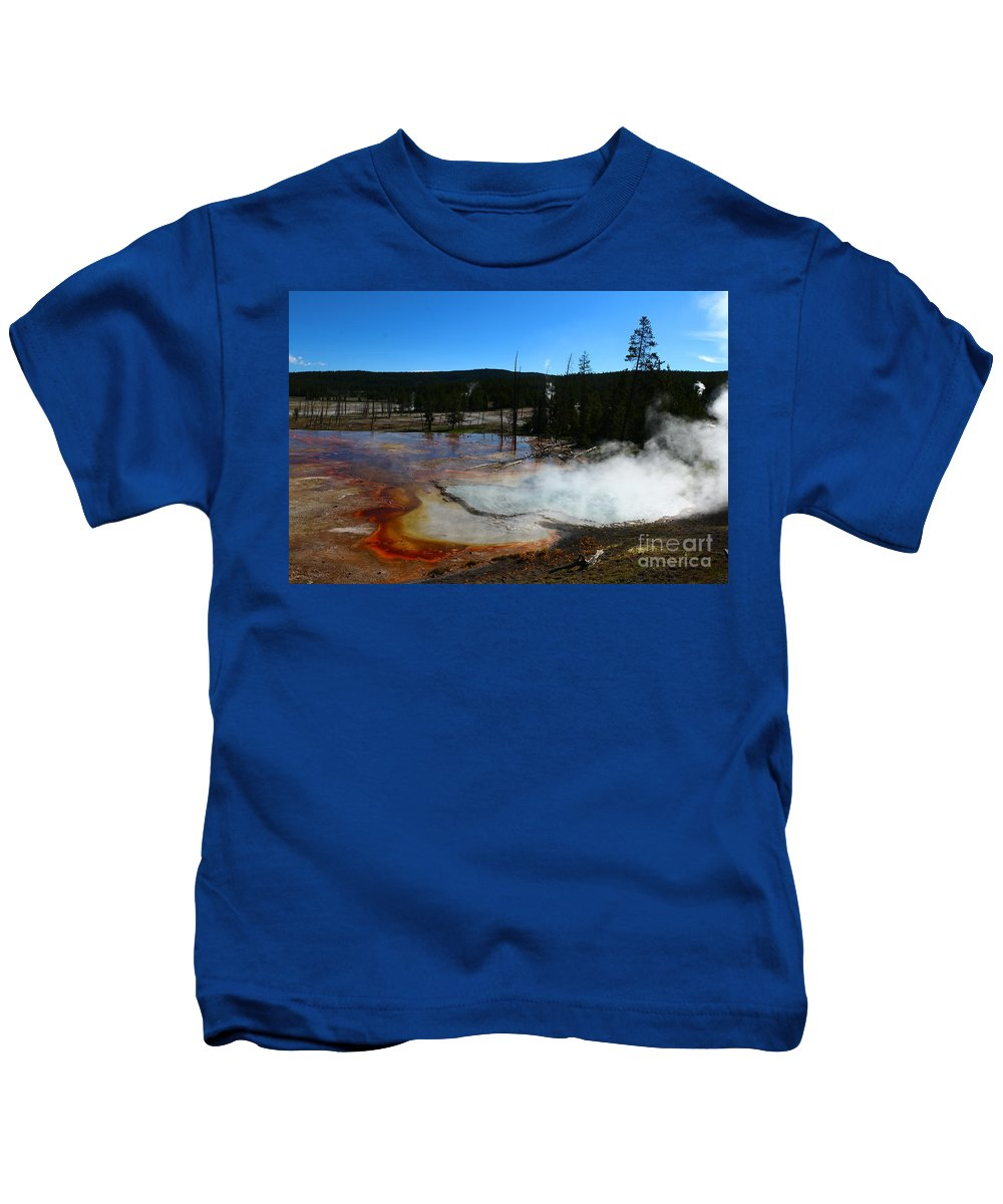Rehole Lake Kids T-Shirt featuring the photograph Firehole Lake by Christiane Schulze Art And Photography
