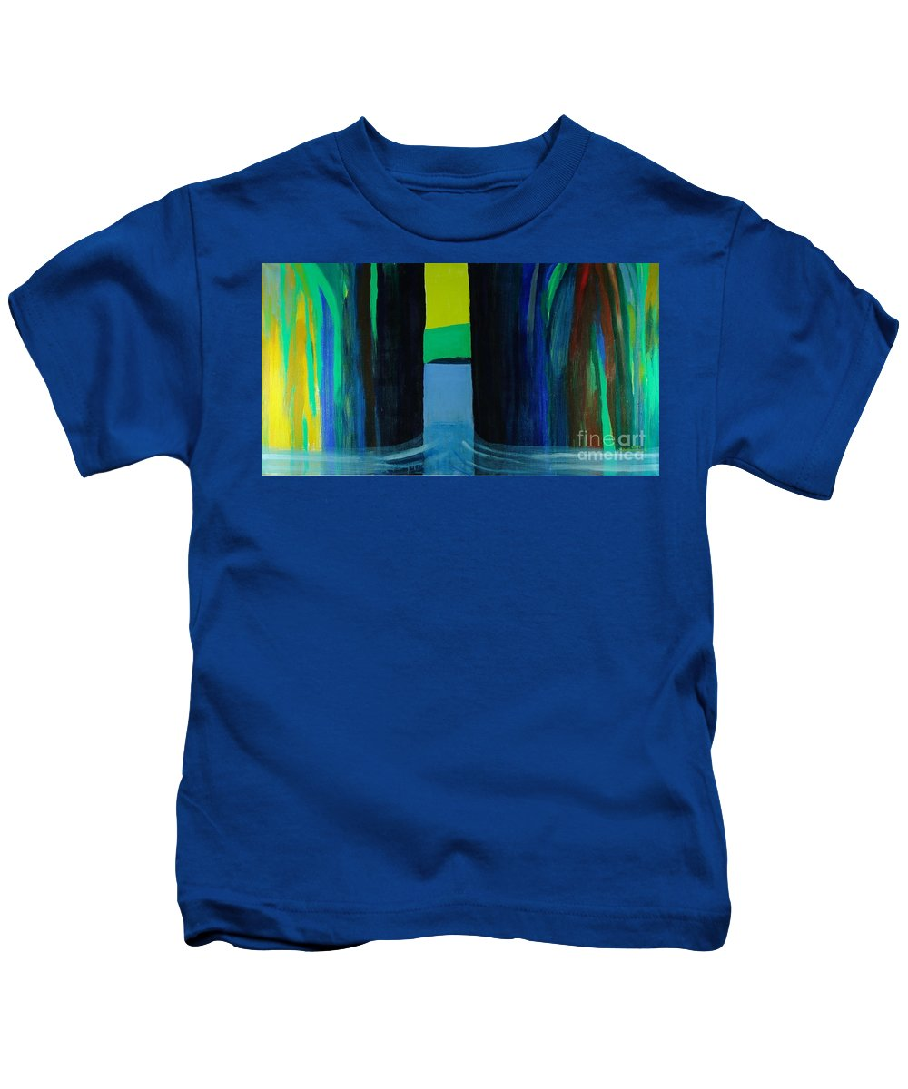 Seascape From A Fjord In The West Coast Of Norway Kids T-Shirt featuring the mixed media Undertow by Jarle Rosseland