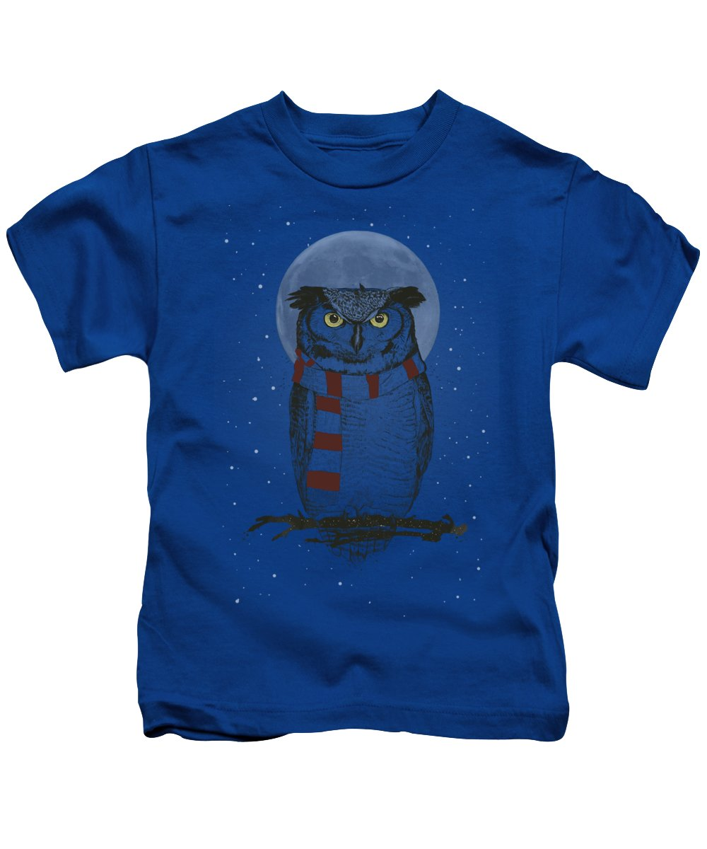 Owl Kids T-Shirt featuring the drawing Winter owl II by Balazs Solti