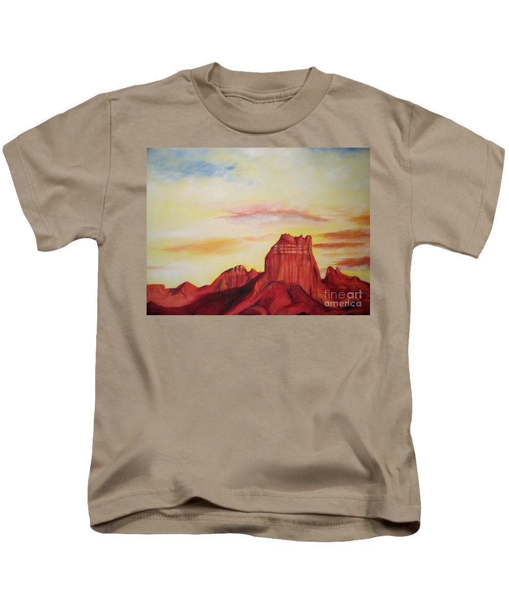 Western Kids T-Shirt featuring the painting Sedona Az by Eric Schiabor