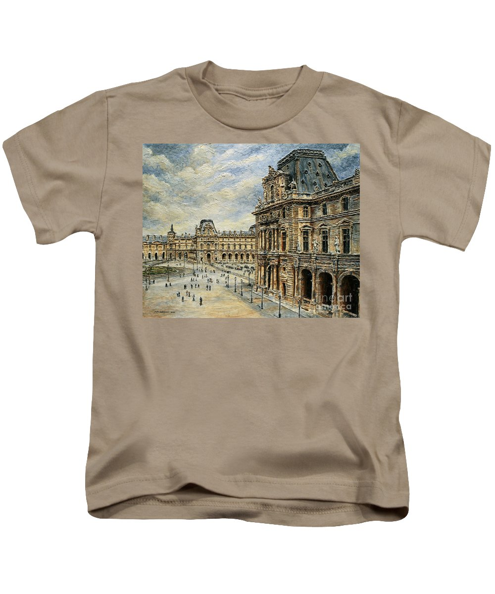Museum Kids T-Shirt featuring the painting The Louvre Museum by Joey Agbayani