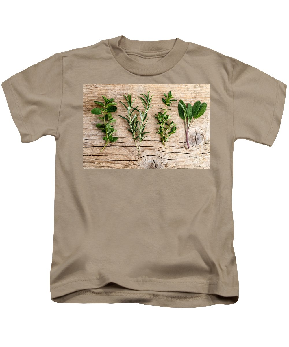 Rosemary Kids T-Shirt featuring the photograph Assorted Fresh Herbs by Nailia Schwarz