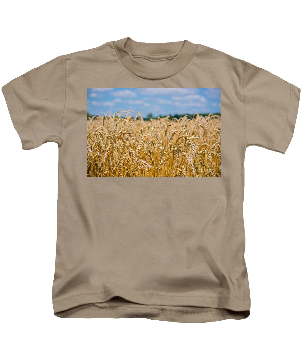 Clouds Kids T-Shirt featuring the photograph Field Of Gold by Cheryl Baxter