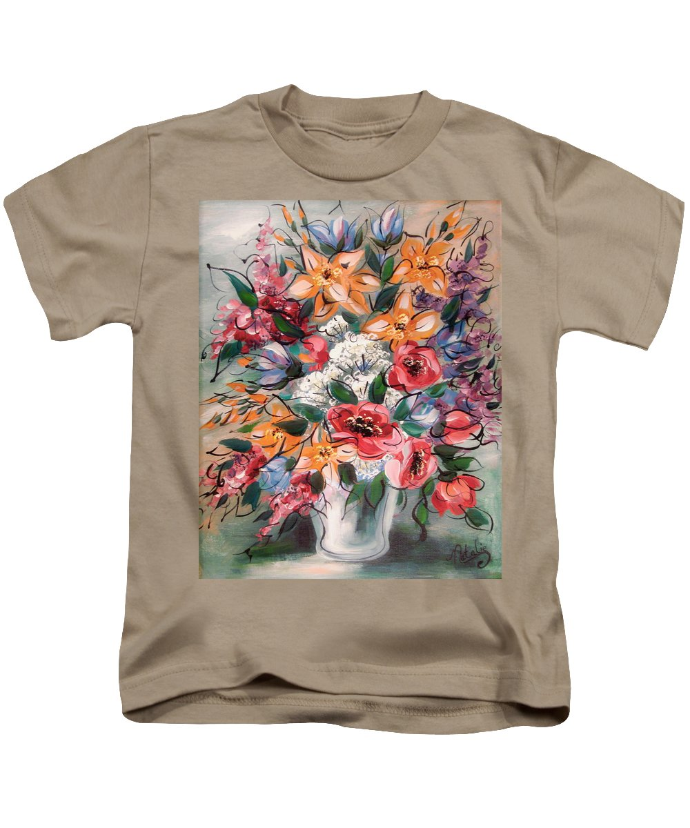 Flowers Kids T-Shirt featuring the painting Garden Flowers by Natalie Holland