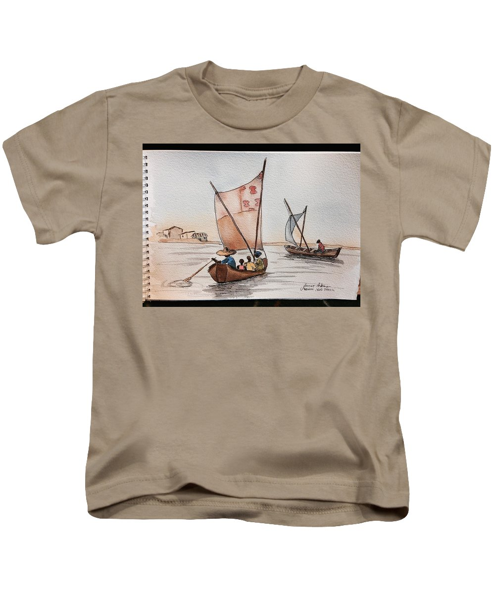 Kids T-Shirt featuring the painting Ghana Ganvie by Yvonne Ankerman