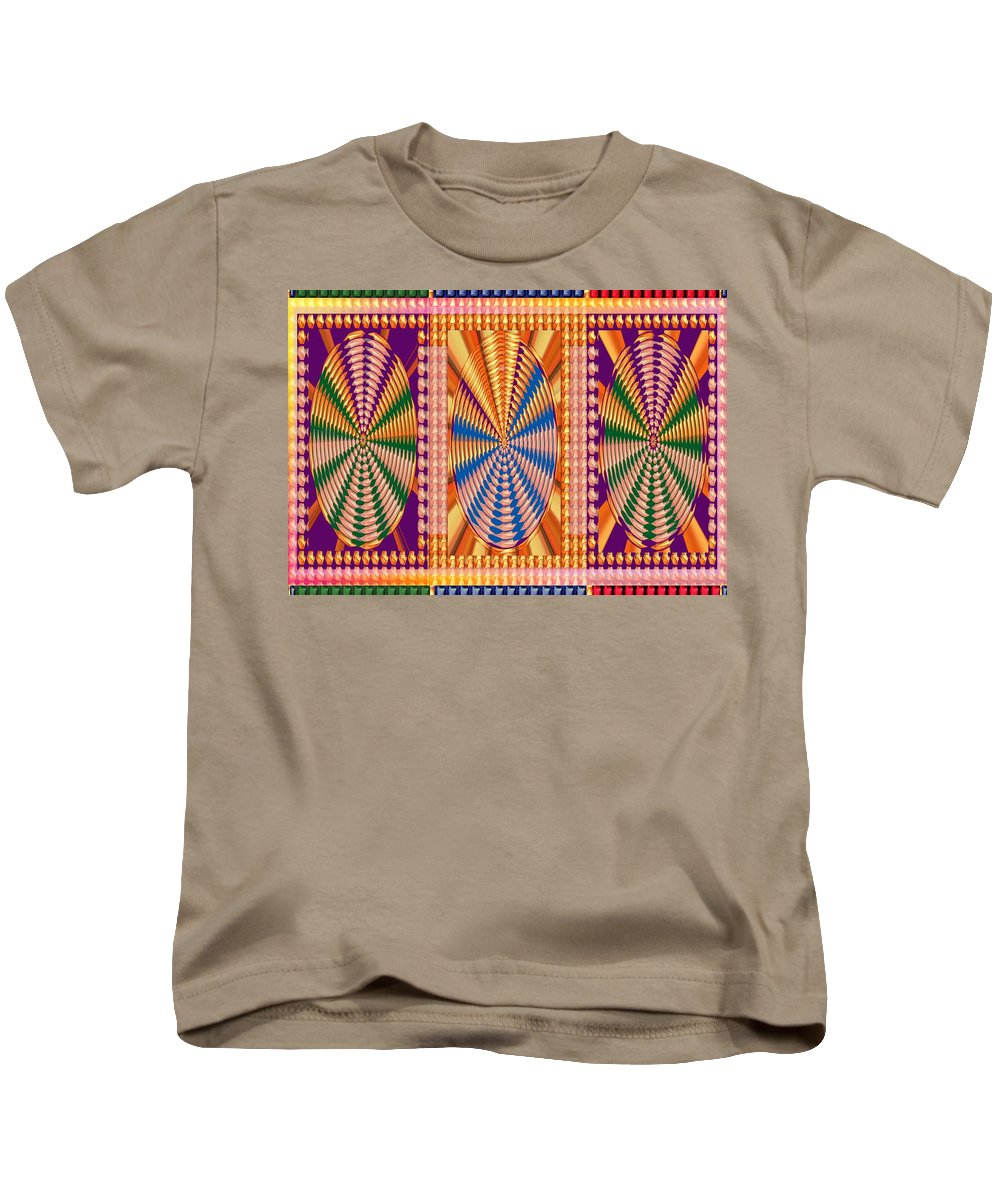 Jewe Panel Kids T-Shirt featuring the mixed media Jewel Panel Colorful Buttons Golden Abstract Signature Art Navinjoshi Artist Created Images Texture by Navin Joshi