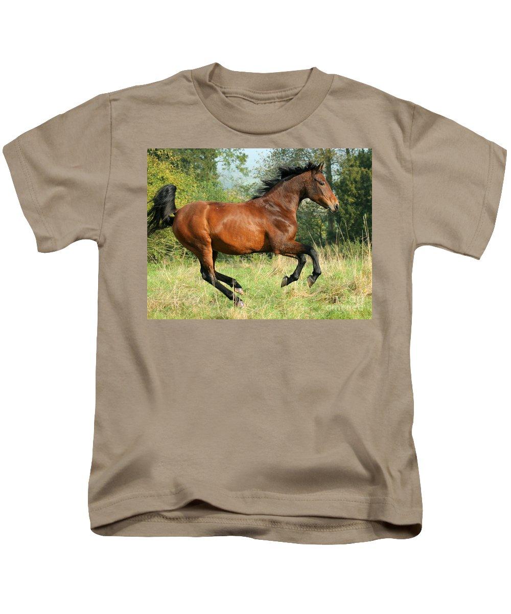 Horse Kids T-Shirt featuring the photograph Jump Jump by Angel Ciesniarska