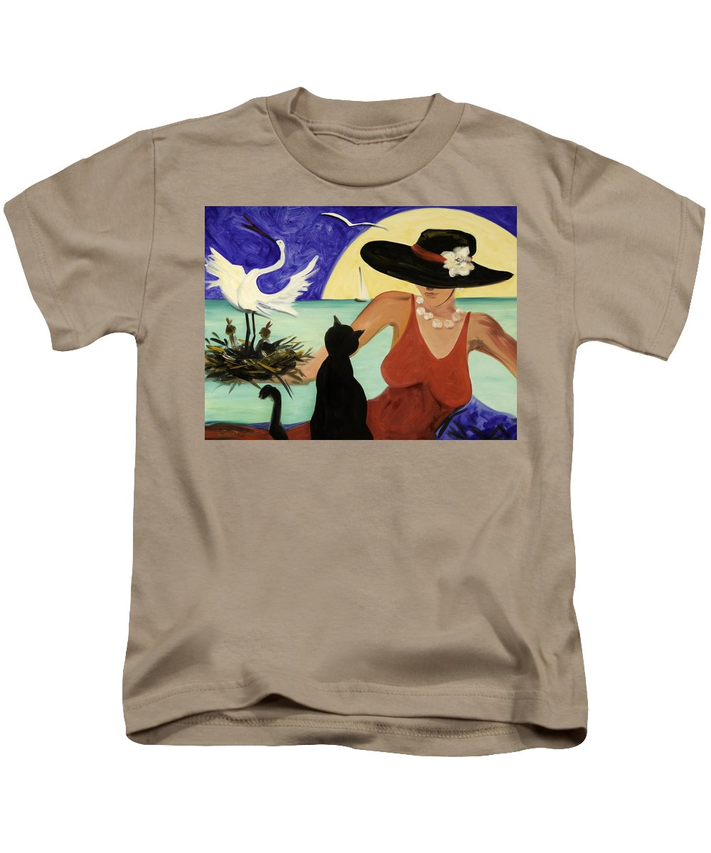 Colorful Art Kids T-Shirt featuring the painting Living The Dream by Gina De Gorna